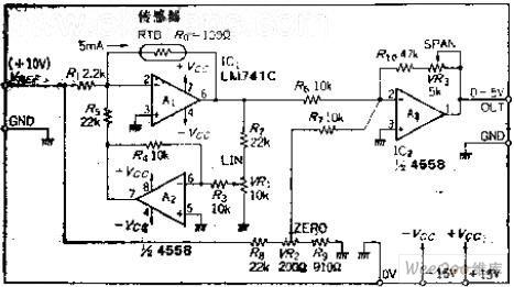 本电路是一种采用正反馈方式,带线性器的温度丈量电路,温度上升